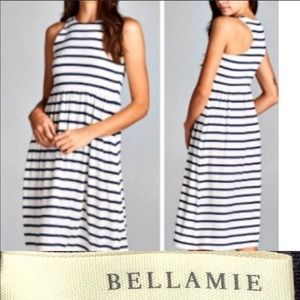 (2) Bellamie Navy and Pink Racer Back Tank Dresses